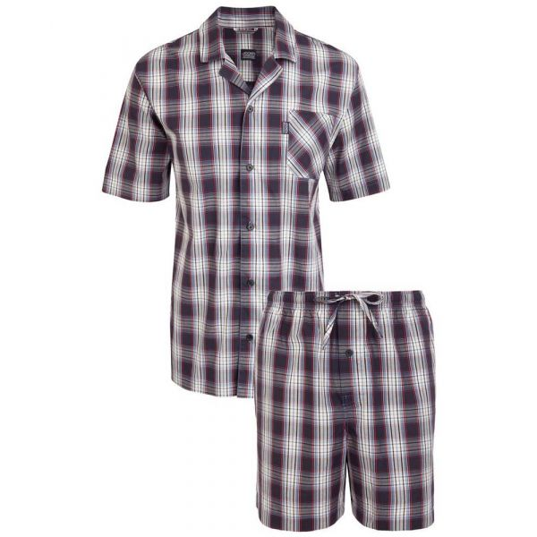 Shortie Cotton Pyjamas in Stonewash Check from Jockey