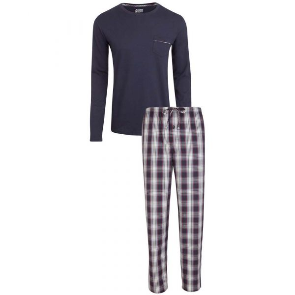 Navy Jersey Top with Check Cotton  Pyjamas from Jockey