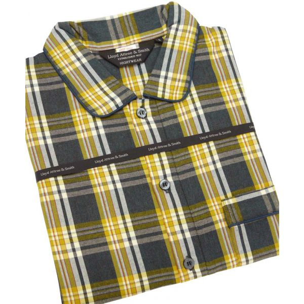 Yellow Check Cotton Nightshirt from Lloyd Attree and Smith