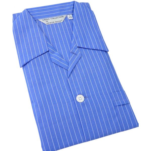 Bright Blue with Fine White Stripe Tie Waist Cotton Pyjamas by Derek Rose