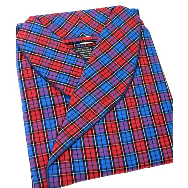 Red and Blue Window Check Cotton Gown from Lloyd Attree and Smith