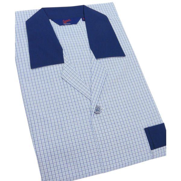 Small Blue Check Easycare Elastic Waist Pyjamas from Somax