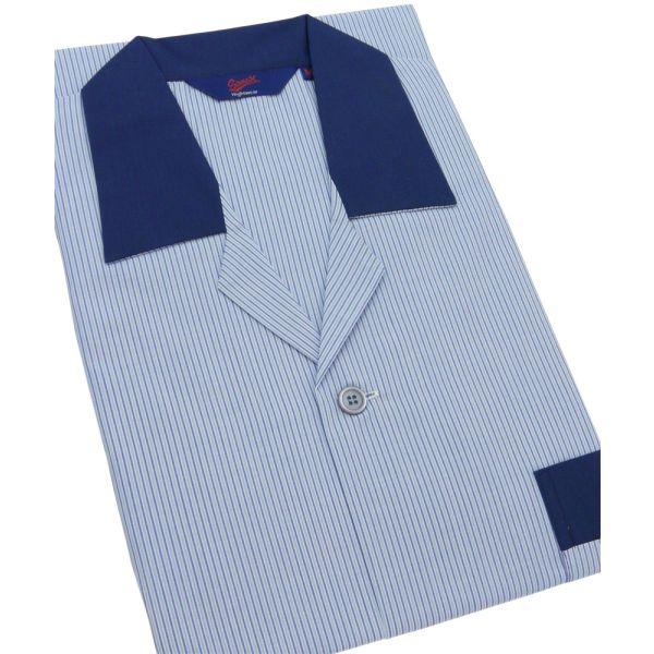 Blue Stripe Easycare Elastic Waist Pyjamas from Somax