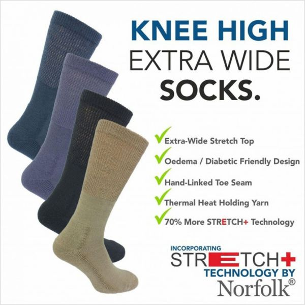 Norfolk Socks - Morgan - Mens Long Extra Stretch with No Elastic Socks -Wool
