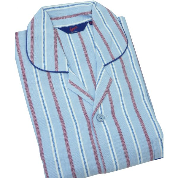 Blue and Red Stripe Herringbone Brushed Cotton Tie Waist Pyjamas from Somax