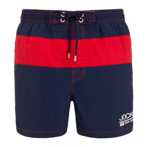 Navy Jockey Swimming Shorts with Red Band