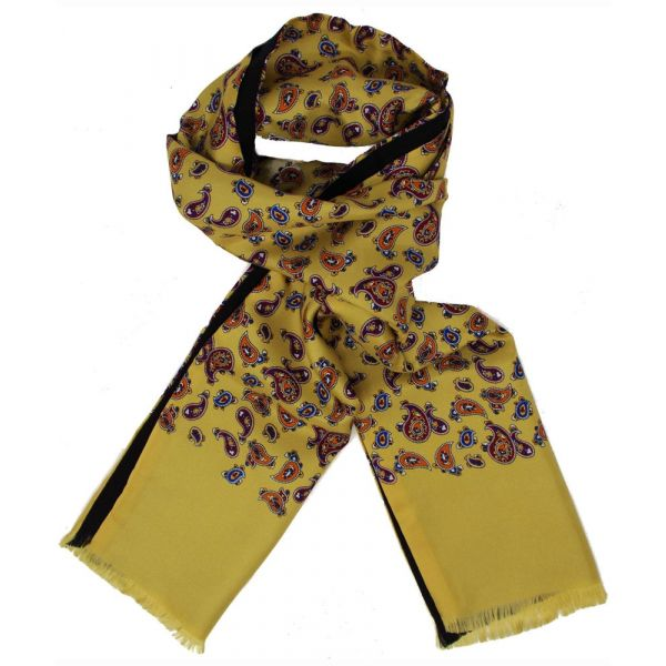 Mens Silk Scarf in Mustard Paisley Design - Wool Backed