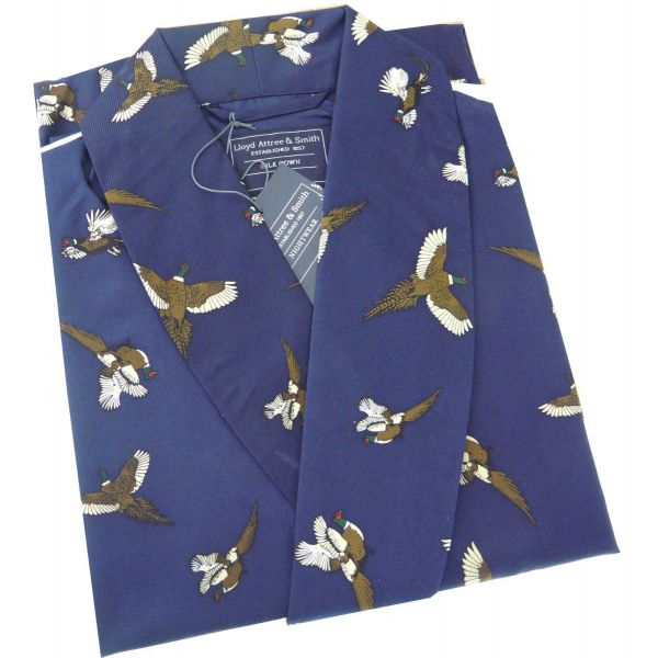Navy Silk Gown with Flying Pheasant Design from Lloyd Attree & Smith