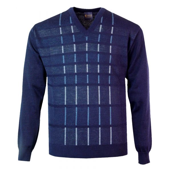 Gabicci V Neck Jumper in Navy with Blue Overcheck