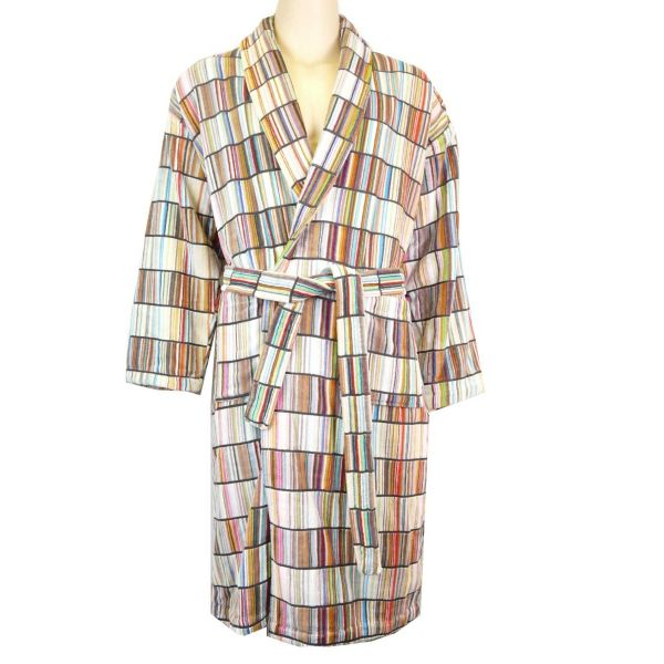 linenHall - Mens Cotton Velour Gown - Criss Cross Naturals Design