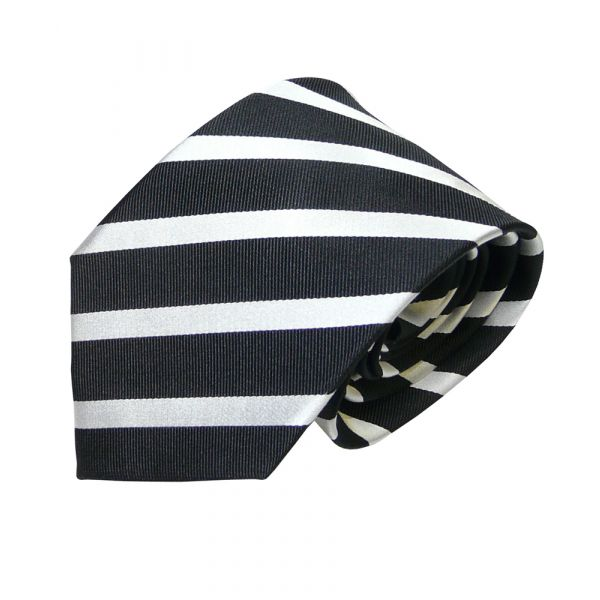 Black and Silver Striped Van Buck Silk Tie