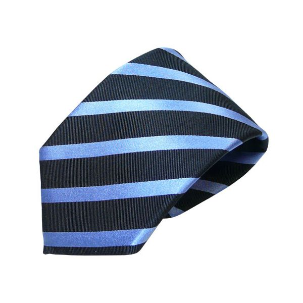 Navy and Royal Blue Striped Van Buck Silk Tie