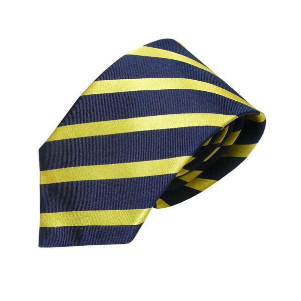 Navy and Yellow Striped Van Buck Silk Tie