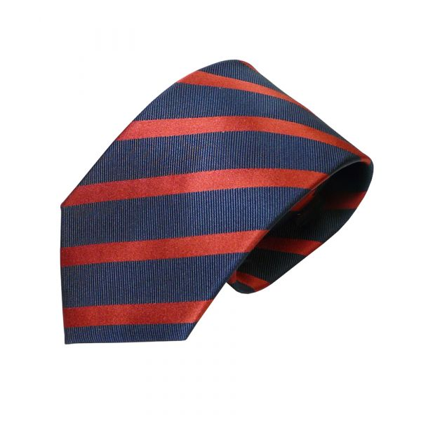 Navy and Red Striped Van Buck Silk Tie
