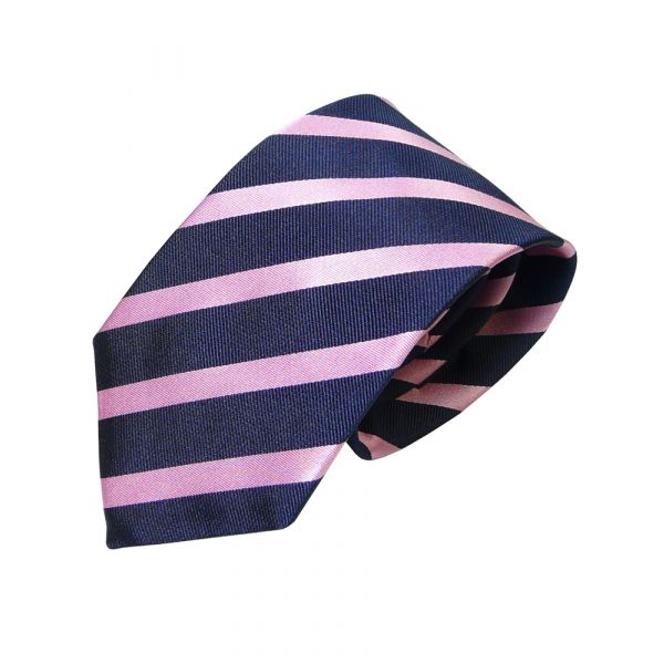 Navy and Pink Striped Van Buck Tie
