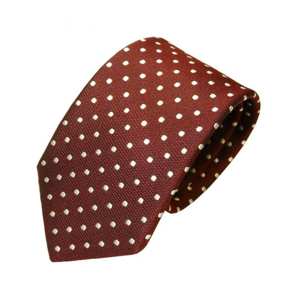 Maroon and White Spots Van Buck Silk Tie