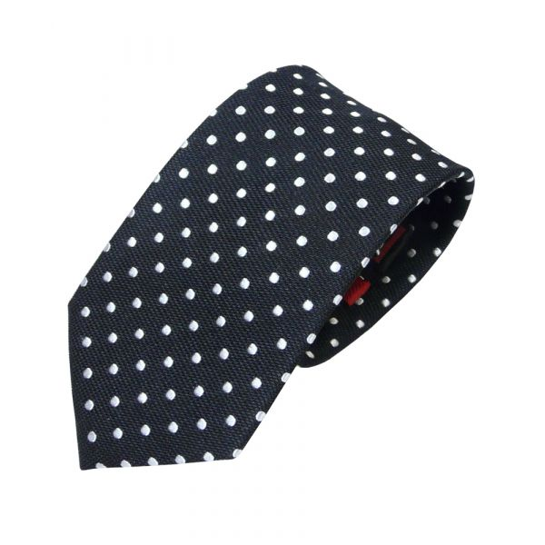 Black and White Spotted Silk Tie from Van Buck