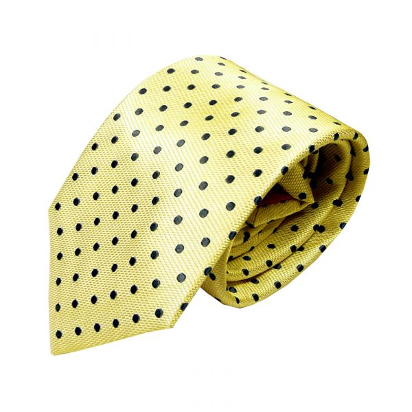 Yellow Silk Tie with Navy Spots from Van Buck