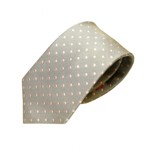 Silver Silk Tie with Pink Spots from Van Buck