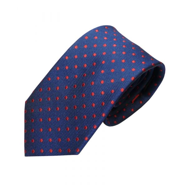 Navy Silk Tie With Red Spots from Van Buck
