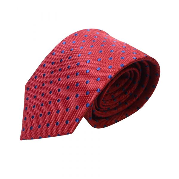 Red Van Buck Silk Tie with navy spots