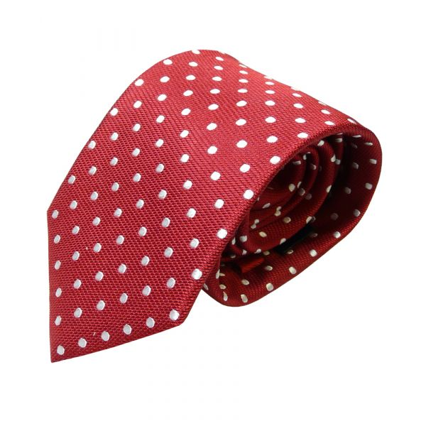 Red Van Buck Silk Tie with White Spots
