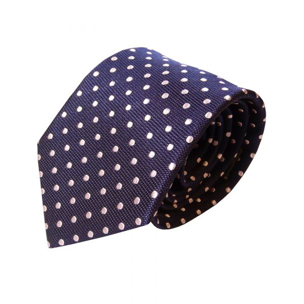 Navy Van Buck Silk Tie with Pale Pink Spots