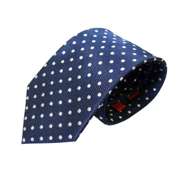 Navy Van Buck Silk Tie with white spots