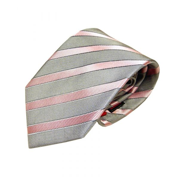 Grey Van Buck Silk Tie With a Salmon Pink Stripe