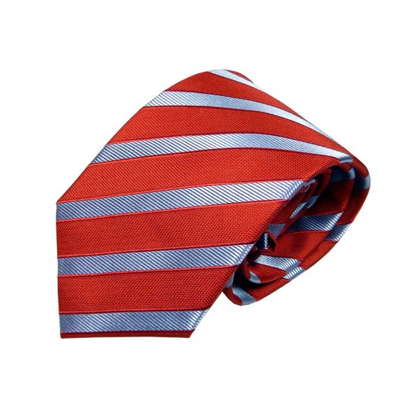Red Van Buck Silk  Tie with A Sky Blue Stripe