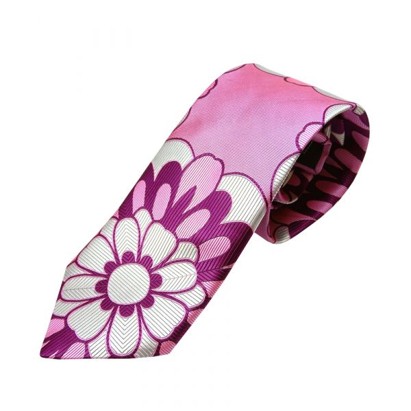 Pink Large Flower Limited Edition Silk Tie from Van Buck