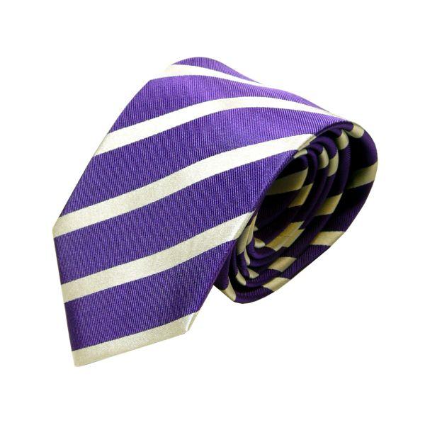 Van Buck Red Label Purple Silk Tie with White Stripes