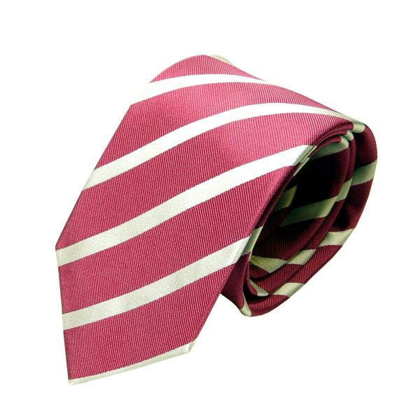 Van Buck Red Label Pink and White Striped Silk Tie