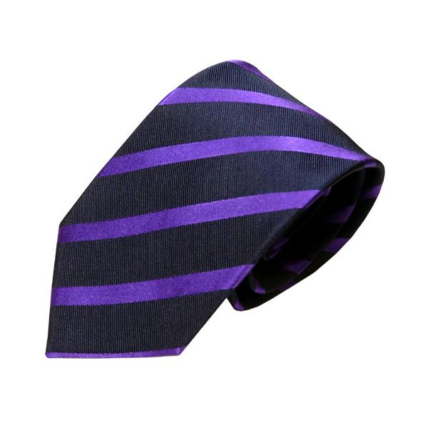 Van Buck Red Label Navy Silk Tie with Purple Stripe