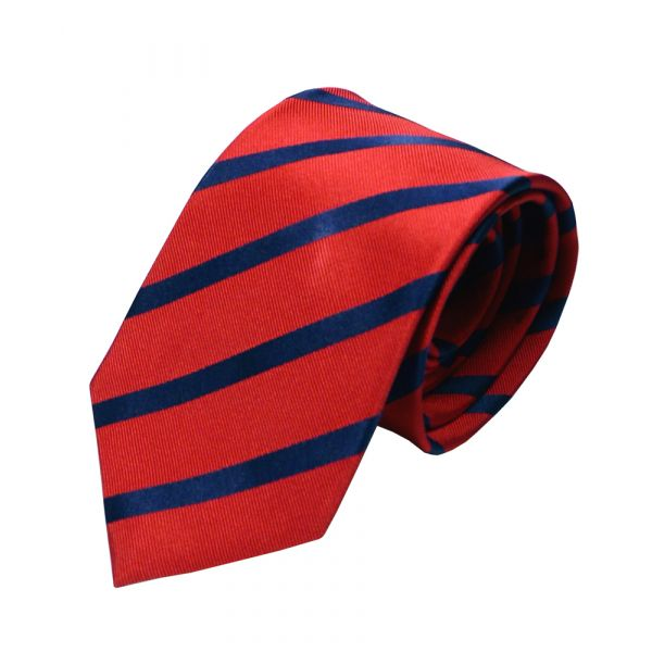 Van Buck Red Label Red Silk Tie with Navy Stripe