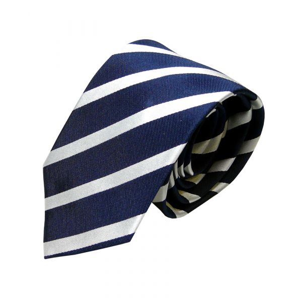 Van Buck Red Label Navy Silk Tie with White Stripes