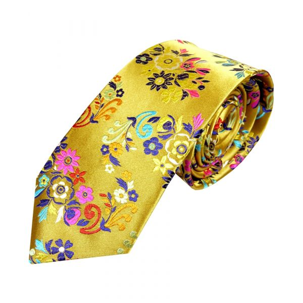 Van Buck Gold with Multi Flowers - Limited Edition Silk Tie