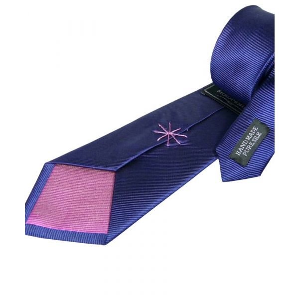 Navy Silk Tie with Pink Lining