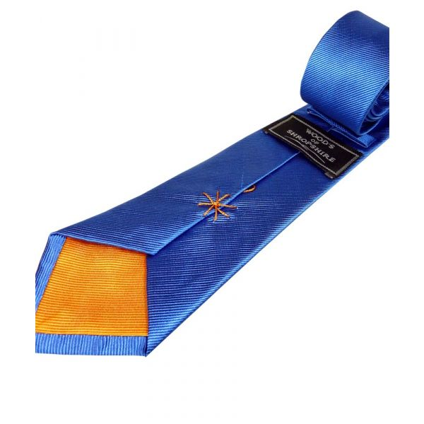 Blue Silk Tie with Orange Lining
