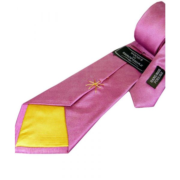Pink Silk Tie with Yellow Lining