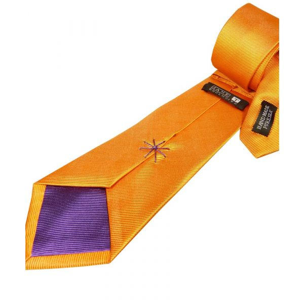 Orange Silk Tie with Purple Lining
