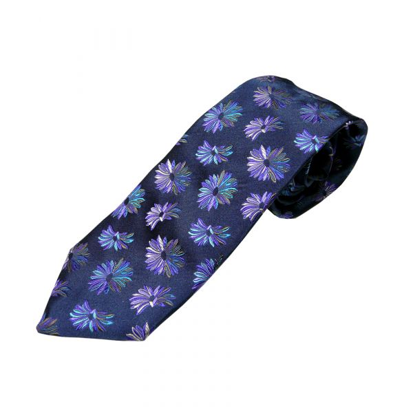 Limited Edition Van Buck Tie in Navy with Blues & Purples Flowers