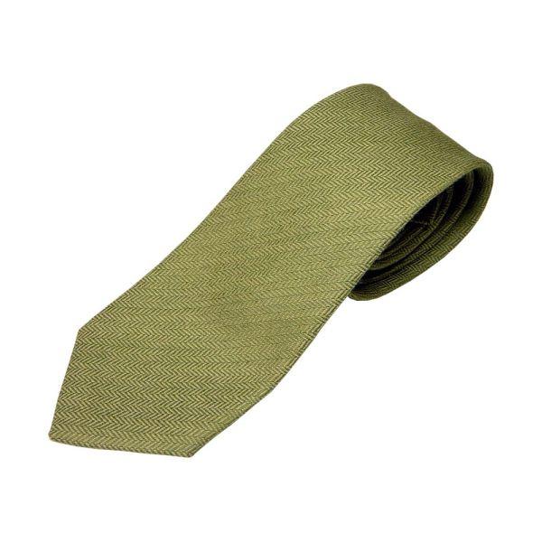 Green Herringbone Design Wool Tie from Atkinsons