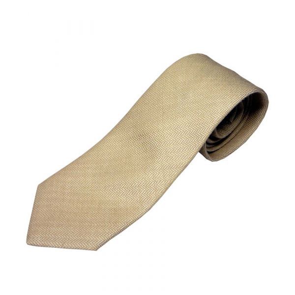 Beige Herringbone Design Wool Tie from Atkinsons