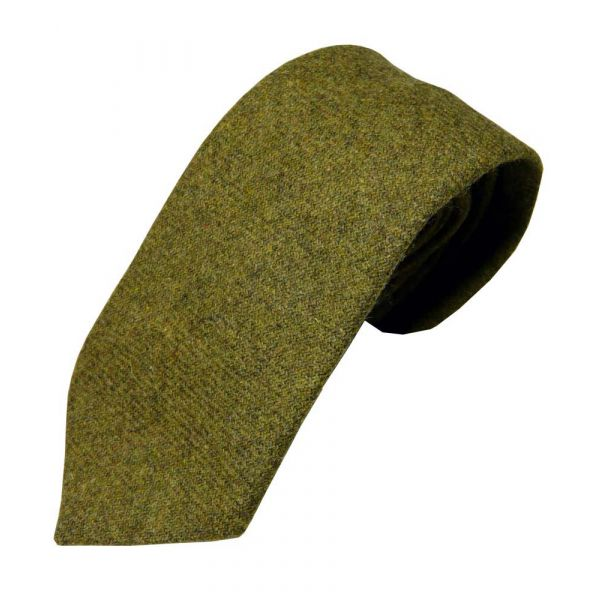 Light Olive Wool Tie from Atkinsons