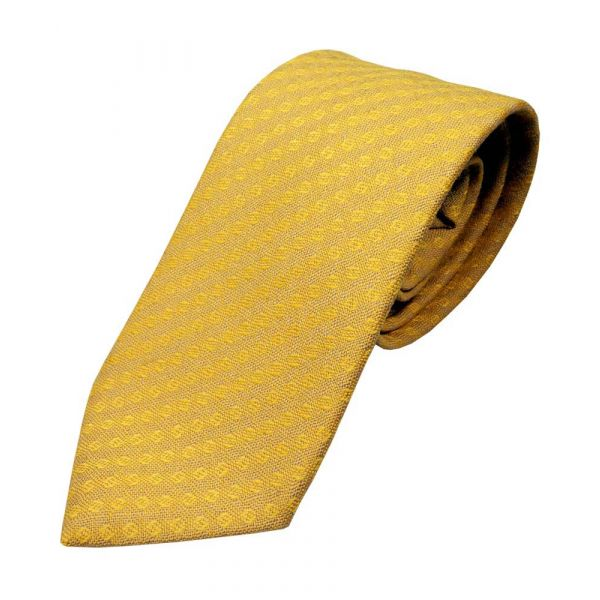Wheat with Gold Diagonal Design Wool Tie from Atkinsons