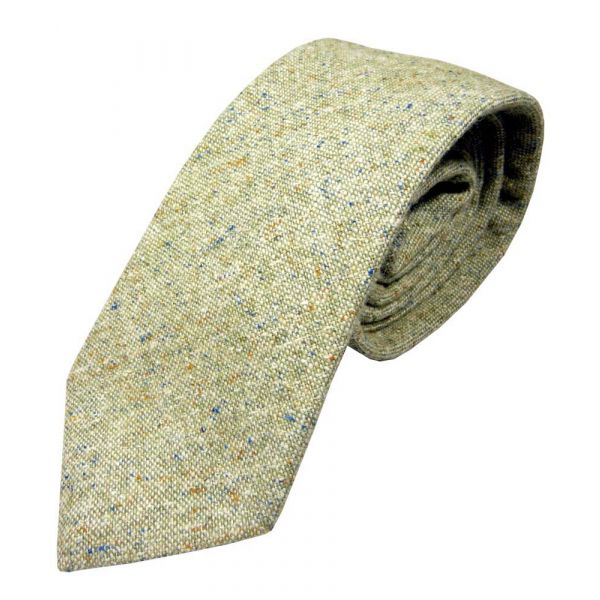 Light Sage Speckled Donegal Wool Tie from Atkinsons
