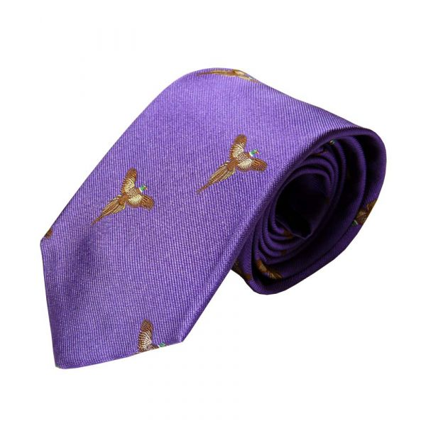 Deep Purple Silk Tie with Flying Phesant Motif from Atkinsons