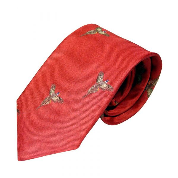 Bright Red Silk Tie with Flying Phesant Motif from Atkinsons