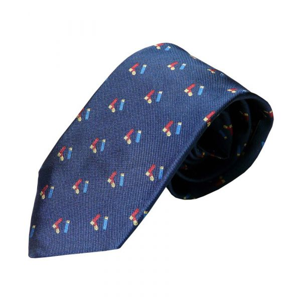 Navy Silk Tie with Cartridge Motif from Atkinsons